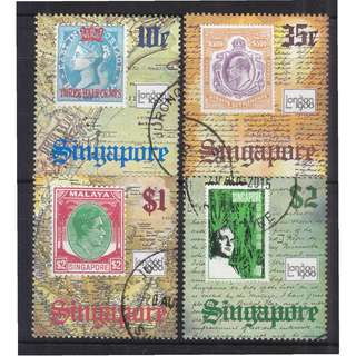 SINGAPORE 1980 LONDON 1980 INT'L STAMP EXHIBITION COMP. SET OF 4 STAMPS SC#349-352 IN FINE USED CONDITION