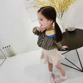 春夏新款 韓版 女童復古千鳥格紋襯衫