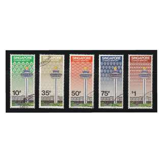 SINGAPORE 1981 CHANGI INT'L AIRPORT COMP. SET OF 5 STAMPS SC#382-385 IN FINE USED CONDITION