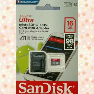 Sandisk microsd with adapter 16g