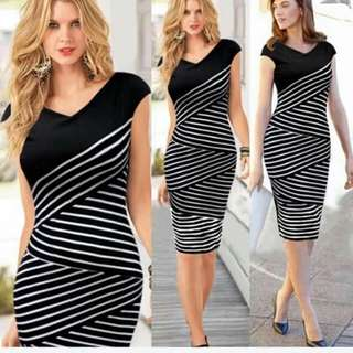 Stripe Combined Formal Dress