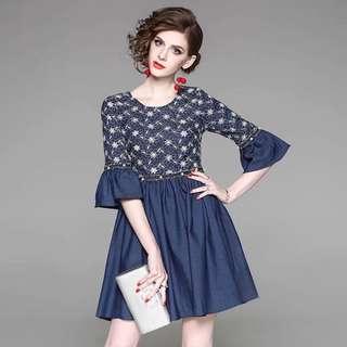 round neck flare half sleeve embroidered floral denim blue beaded dress