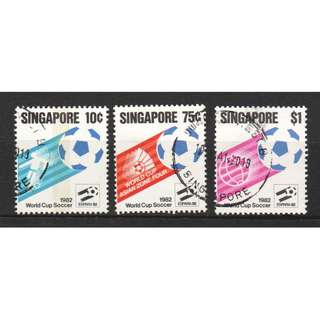 SINGAPORE 1982 WORLD CUP SOCCER COMP. SET OF 3 STAMPS SC#394-396 IN FINE USED CONDITION