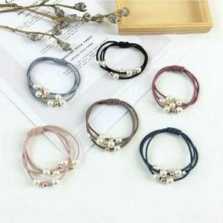 【韓系髮飾】韓國飾品 歐美外貿 氣質百搭 珍珠串珠多層橡皮筋髮束髮圈 手環