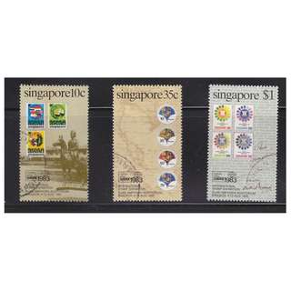 SINGAPORE 1983 BANGKOK INT'L STAMP EXHIBITION COMP. SET OF 3 STAMPS SC#423-425 IN FINE USED CONDITION