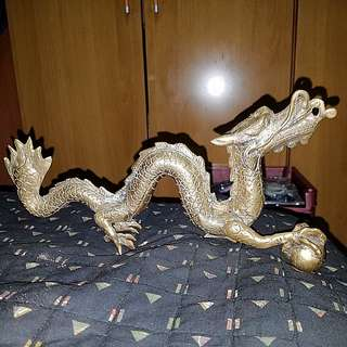 Rare Golden Dragon Holding World in the an
