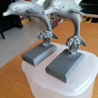 2 dolphins ornaments..by Tumash Pewter