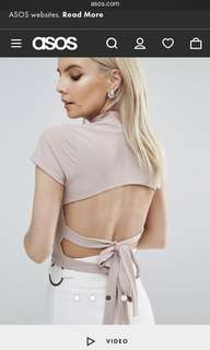 ASOS CUTE MUTED PINK CROP TOP WITH BACK BOWTIES