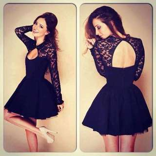 Black short dres with lace
