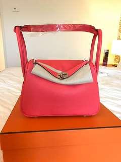 Hermes 全新 26 cm Lindy L26 T5 rose jaipur clemenc leather  全新 full set