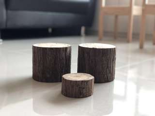 Wedding - Log Wood Deco (3 pcs)