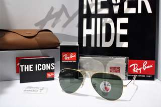 Authentic Ray Ban Aviator RB3025 001/58 58MM & 62MM Polarized Green.
