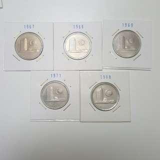 1967, 1968, 1969, 1971 & 1988 MALAYSOA 50 CTS CIRCULATEF