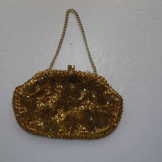 """""""Vintage"""" Gold Beaded Small Purse Evening Bag"""