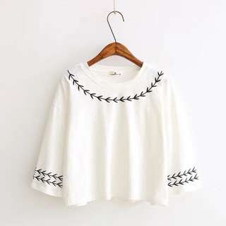 Simple korean style Embroidered Top