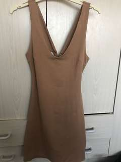 TAN BODYCON WITH CROSS BACK