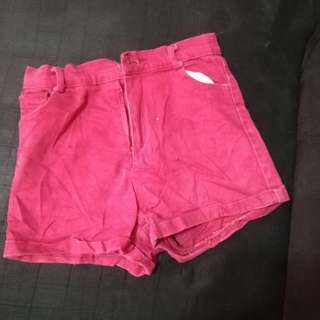 High Waist Maroon Short