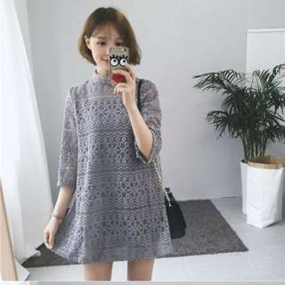 Casual lace dress korean style