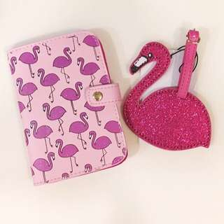 Flamingo Luggage/Bag Tag & Passport Cover Brand New