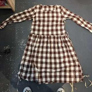 復古鄉村格子洋裝