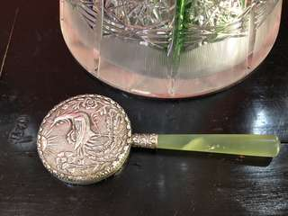 Vintage Chinese Jade silver Small Hand Held Mirror