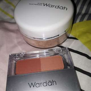 Wardah blush on D + acne face powder