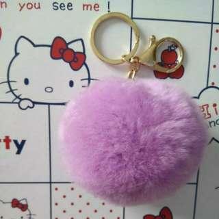 Purple Fluffy Furry Ball Bag Decoration Key Chain