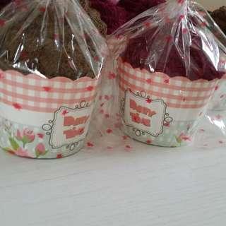 Maroon and brown cupcake towel