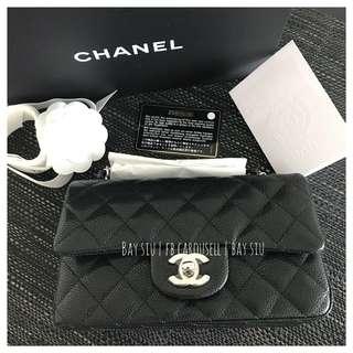 全新 黑牛銀扣 Chanel mini 20cm