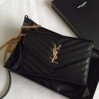 BEST SELLING YSL Envelope Chain Wallet in Black Grained Calfskin