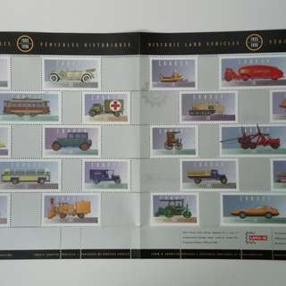 加拿大小版張 Historical land vehicles stamps uncut sheet
