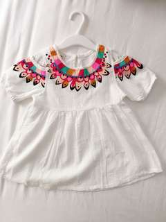 Little Girl Off Shoulder White Dress