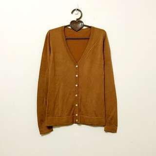 🚚 MUJI無印良品專櫃購入茶色棉質長袖細針織衫外套