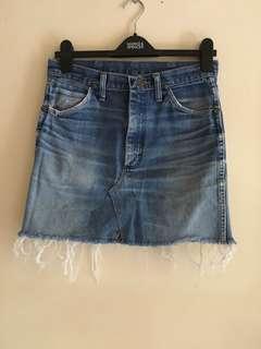Wrangler denim frayed skirt