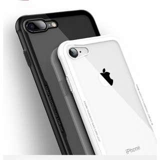 iPhone7/8 Plus 晶鋼玻璃背板手機殼 (白色)