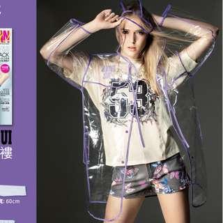 旅行/保溫/行山用品 - 全新 Anna Sui 透明 雨衣 raincoat 時尚 雨褸 萬用隨身袋 (可以重複用)