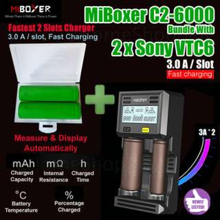 MiBoxer C2-6000 3.0A Per Slot Fast Smart Charger UK Plug Bundle With 2 x Sony VTC6 3000mAh