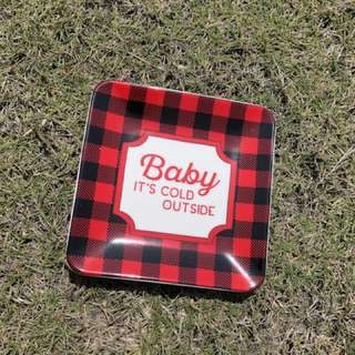 紅黑格子餐盤 方盤 點心盤 水果盤 居家生活