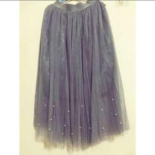 優雅灰珍珠紗裙