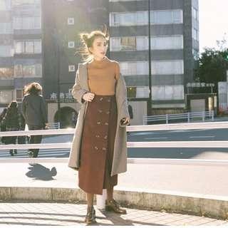 🚚 肉麻老女人|排釦羊毛長窄裙