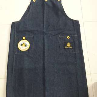 Denim Full Apron ( with yellow button )