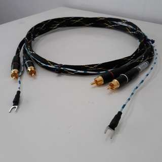 Turntable Phono RCA Cable With Gnd Wire