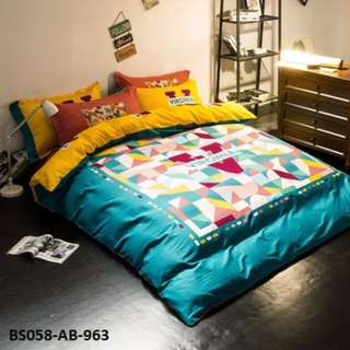 [963] 4pcs Cotton BedSheet AB [Super Single/Queen/King] #BS058 #ezwayenterprise #FreeWMPosatge #Onesize