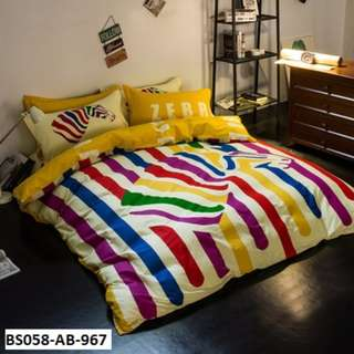 [967] 4pcs Cotton BedSheet AB [Super Single/Queen/King] #BS058 #ezwayenterprise #FreeWMPosatge #Onesize