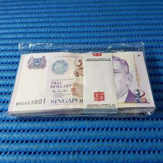 Singapore Portrait Series $2 Note 0RD 823801-823900 RUN 100X / Stack Dollar Banknote Currency ( 8 Head 8 Tail ) HTT