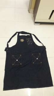 Denim Full Apron with button
