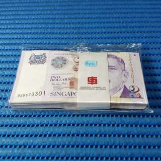 Singapore Portrait Series $2 Note 0SB 573301-573400 Run 100X / Stack Dollar Banknote Currency HTT