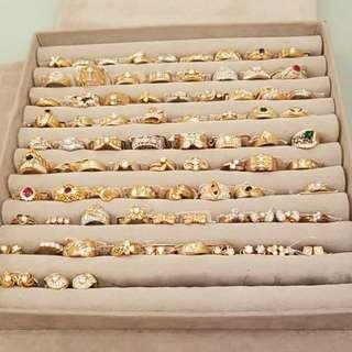 18k 鑽石 寶石 介指