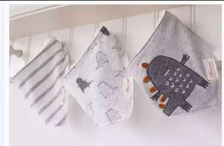 Set of 3 Monster dinosaur baby bibs