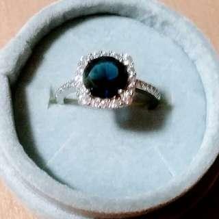 星光純銀閃 藍水晶和白水晶 高貴款式戒指